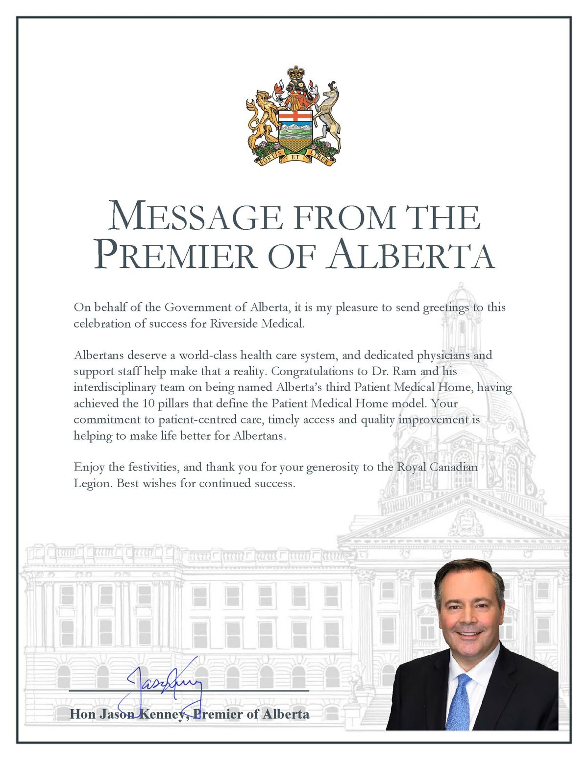 Riverside Medical Message from the Premier of Alberta