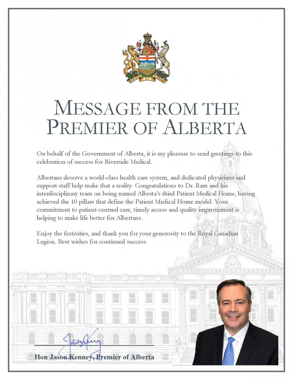 Riverside_Medical_Message_from_the_Premier_of_Alberta